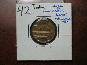 1942  Canada 5 cent  Large Lamination Error
