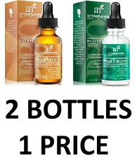 2 Bottlers! Art Naturals Organic 20% Vitamin C Serum,Hyaluronic Acid Serum Set