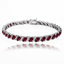 Created Ruby Tennis Bracelet with White Topaz Accents in Sterling Silver