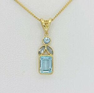Ladies Necklace 9c(375, 9K) Yellow Gold Aquamarine Pendant Necklace