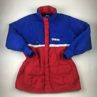 Vintage 80s 90s Womens Parka Puffer Ski Jacket Blue Color Block Zip Elastic XL