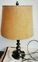 elegante tisch lampe kleine stehlampe 52cm true vintage pergamentschirm zinnfuß