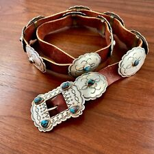Native American Sterling Silver Smoky Bisbee Turquoise Concho Belt Gilbert Tom