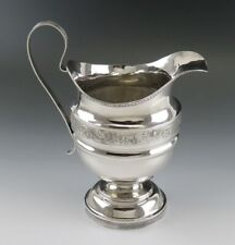 """Antique c1825 American Coin 900 Silver Milk Pitcher Large Creamer 6 1/2"""" 255g"""