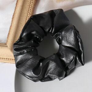 Women Big New Faux Leather Solid Scrunchie Hair Ring Hair Bands Sports Hair Tie