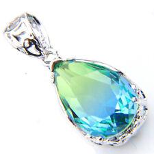 925 Sterling Silver Plated Drop Bi Colored tourmaline Gems Necklace Pendants