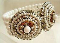 Vintage Early Miriam Haskell Rose Montee Milkglass Coil Bracelet, Wearable As Is