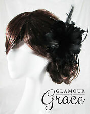 Ivy black feather fascinator wedding bridal Melbourne Cup carnival races RRP $50