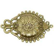 30 Bronze Tone Filigree Flower Wraps Connectors Embellishments Findings 66x46mm