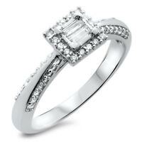F/VS 0.35 carat Round and Baguette Diamonds Engagement Ring in 18K White Gold
