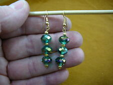 mm 3 bead dangle gold earrings (Ee-503-115) faceted green Austrian crystal 12x8