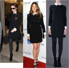BLACK  SHIRT DRESS CONTRAST WHITE CUFFS AND COLLAR, CELEBRITY 60's STYLE S,M,L