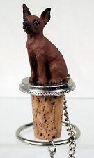 Miniature Pinscher Min Pin Red Dog Hand Painted Figurine Wine Bottle Stopper