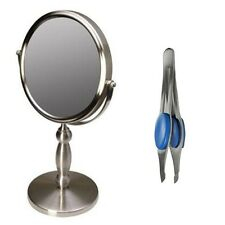 Floxite 2-Sided 15X Magnification Strong Vanity Mirror FL-15V Tweezer Bundle