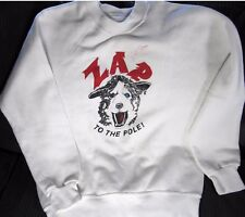 ZAP sled dog Husky Wil Steger Autographed NORTH POLE 1986 Sweat SHIRT XL WHITE