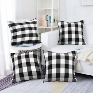 Farmhouse Decor Pillow Covers, Black And White Buffalo Checkers Plaids Cotton Th
