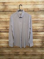 Peter Millar Mens Summer Comfort Purple Blue Plaid LS Button Down Shirt Large