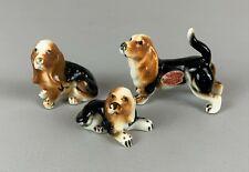 Vintage Shiken Bone China Basset Hound Dog Family