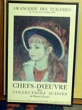 "Renoir Young Girl In Blue Hat Art Poster 16"" X 23"" Orangerie Des Tuileries 1967"