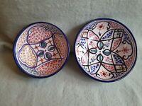 Greek Continental Hand Painted Decorative Plates Floral Design Bowls x 2