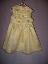 AMERICAN GIRL Size 4 Lemon Yellow Tulle Party Dress Accented with Ribbon Flowers