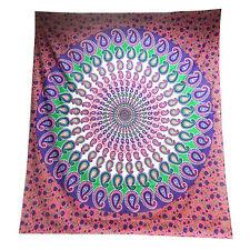 Colcha Paisley Mandala rosa violeta 230x210cm India manta algodón decoración