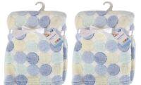 Set Of 2 Newborn Baby Boy Soft Fleece Blanket Pram Crib Moses Basket Gift Blue