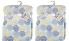 Set De 2 recién nacido bebé niño Polar Suave Manta De Cochecito Cuna Moisés Regalo Azul