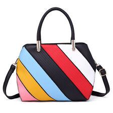 New Arrived Ladies Designer Handbag Colorful Stripes Shoulder Bag Satchel