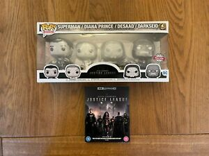 Zack Snyder's Justice League Limited Funko Pop 4 Pack Metallic Set & Blu-ray