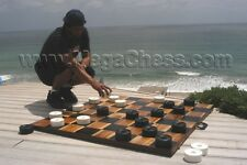 """Large Plastic Checkers with 4"""" Diameter - Garden Checkers - Outdoor Checkers"""