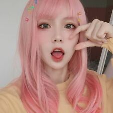 Women Short Pink Wavy Curls Hair Wig With Bangs Synthetic Wig Cosplay Full Wigs