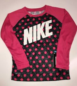 Nike Girls Dri-Fit Shirt with Pink Polka Dots Size 4
