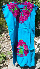 Maya Mexican Dress Embroidered Flowers Chiapas Puebla Blue Pink Red Large PD
