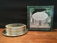 7 Piece International Silver Company Silverplated Embossed Coaster Set w/ Holder