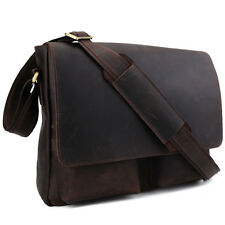 Vintage Retro Mens Briefcase Messenger Shoulder Bag Crossbody Leather Brown