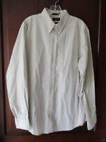 Dockers Men's Size L Solid Beige Classic Fit Long Sleeve Button-Front Shirt