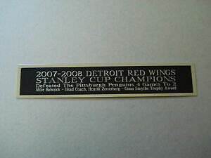 """Detroit Red Wings '07-'08 Stanley Cup Nameplate For A Hockey Jersey 1.25"""" X 6""""."""
