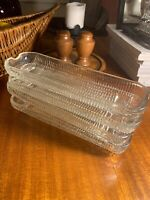 Set of 4 Corn on the Cob Holders Clear Pressed Glass Dishes~Plates