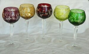 Czech Bohemian Crystal Cut Clear Hock Wine Goblets 5 Grape Vintage