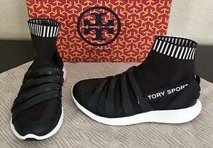 Tory Burch Sport Banner Performance Sock Sneaker Black Athletic Tennis Shoe 5.5
