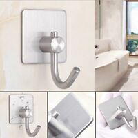 Stainless Steel Wall Hook Self Adhesive Hanger Door Home Kitchen Bathroom Towel