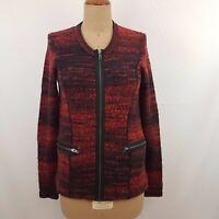Jag Womens Cardigan Jacket SZ M Red Black Marle Boucle Felted Knit Zips Boho
