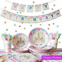 114PCS Unicorn Supplies Banner Balloon Tableware Set  Kids Birthday Party Decor