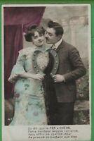 Vintage Photo RPPC French Postcard Good Luck Couple Love Romance Hand Tinted