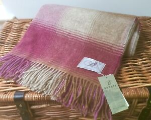 Bronte By Moon Shetland Heather Fawn Kilnsey Check Blanket Throw 100%Merino wool