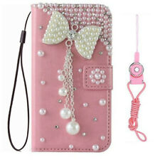For HTC Flip Phone Cases Bling diamonds PU Leather stand wallet covers & straps