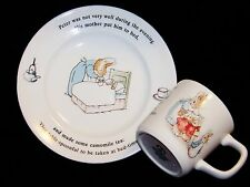 1993 England Peter Rabbit Wedgwood Frederick Warne White Child's Plate & Cup