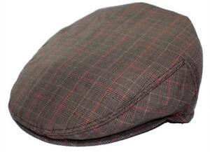 Men's Plaid Golf Summer flat Ivy Driving Cabbie Newsboy Cap Hat  Gray / Brown