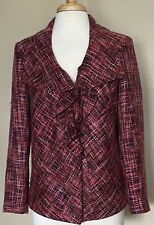 NWT Chicos Cataline Jacket Trimming Tweed Pink Ruffled Front Career Lined 1 M 8